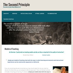 Models of Teaching - The Second Principle