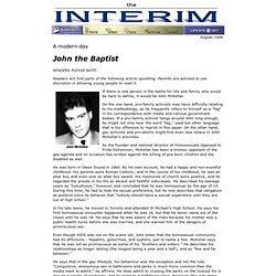Transsexuals... A modern-day John the Baptist - Interim, August 1999
