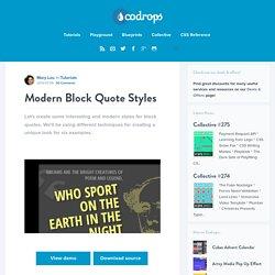 Modern Block Quote Styles