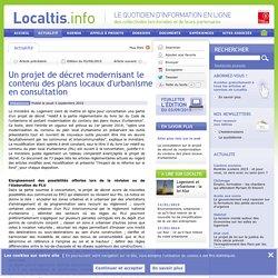 Un projet de décret modernisant le contenu des plans locaux d'urbanisme en consultation - Localtis.info - Caisse des Dépôts
