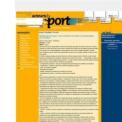 Modernisation du sport : notre contribution au débat I par Patrick Bayeux
