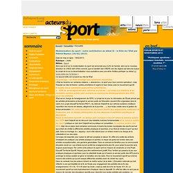 Modernisation du sport : notre contribution au débat II - le Rôle de l'Etat par Patrick Bayeux