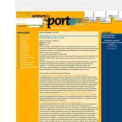 Modernisation du sport : notre contribution au débat III le mouvement sportif par Patrick Bayeux