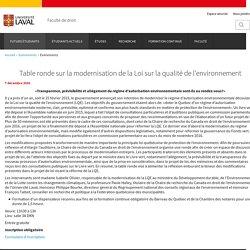 Table ronde sur la modernisation de la Loi sur la qualité de l'environnement