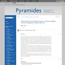 Modernisation de l'interface citoyen - fonction publique: vers une intégration réfléchie des TIC