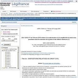 LOI n° 2015-177 du 16 février 2015 relative à la modernisation et à la simplification du droit et des procédures dans les domaines de la justice et des affaires intérieures