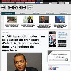 « L'Afrique doit moderniser sa gestion du transport d'électricité pour entrer dans une logique de marché »