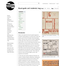 Avant-garde and modernist magazines - Monoskop