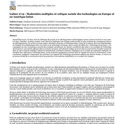 UNIVERSITE DE LIEGE - MARS 2011 - CAHIER DE SCIENCES POLITIQUES N°19 - Modernités multiples et critique sociale des technologies en Europe et en Amérique latine