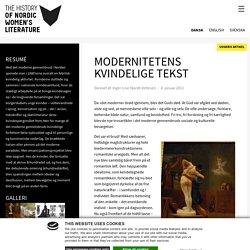 Modernitetens kvindelige tekst - Nordic Women's Literature