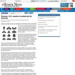 eSchool News Duncan: U.S. needs to modernize its schools