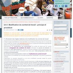 2.4.1. Modification du contrat de travail : principe et procédure