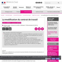 La modification du contrat de travail - Types de contrats