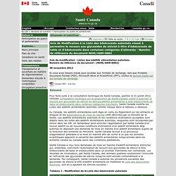 SANTE CANADA 30/11/12 Avis de Modification à la Liste des édulcorants autorisés visant à permettre le recours aux glycosides de