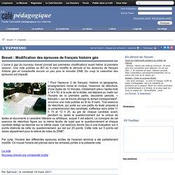 Brevet : Modification des épreuves de français histoire géo