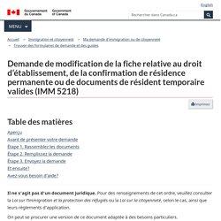 Demande de modification de la fiche relative au droit d'établissement, de la confirmation de résidence permanente ou de documents de résident temporaire valides (IMM5218)