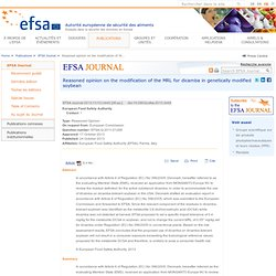EFSA 24/10/13 Reasoned opinion on the modification of the MRL for dicamba in genetically modified soybean.