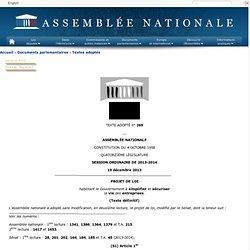 Texte adopté n°269 - Projet de loi, adopté sans modification, par l'Assemblée nationale, en deuxième lecture, habilitant le Gouvernement à simplifier et sécuriser la vie des entreprises