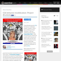CIA behavior modification: Project Bluebird - National US Intelligence