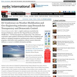 EU Conference on Weather Modification and Geo-Engineering reiterates