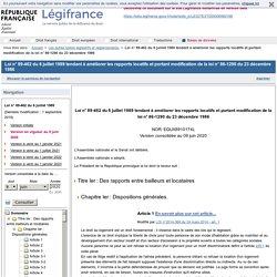 Loi n° 89-462 du 6 juillet 1989 tendant à améliorer les rapports locatifs et portant modification de la loi n° 86-1290 du 23 décembre 1986