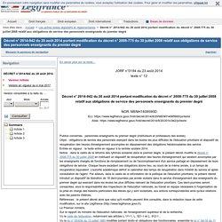Décret n° 2014-942 du 20 août 2014 portant modification du décret n° 2008-775 du 30 juillet 2008 relatif aux obligations de service des personnels enseignants du premier degré