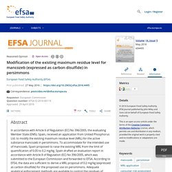 EFSA 27/05/16 Modification of the existing maximum residue level for mancozeb (expressed as carbon disulfide) in persimmons
