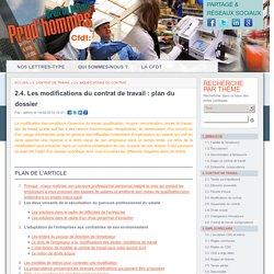 2.4. Les modifications du contrat de travail : plan du dossier