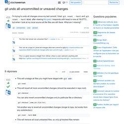 git annuler toutes les modifications non validées ou non enregistrées