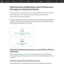Effectuer des modifications dans Photos avec des apps et extensions tierces