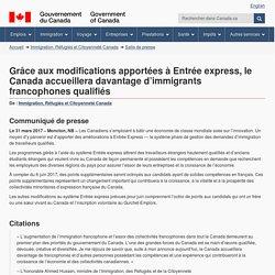 Grâce aux modifications apportées à Entrée express, le Canada accueillera davantage d'immigrants francophones qualifiés - Canada.ca