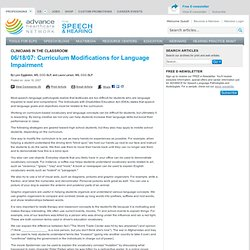 Curriculum Modifications for Language Impairment