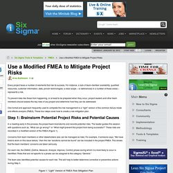 Use a Modified FMEA to Mitigate Project Risks