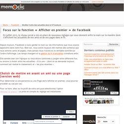 Modifier l'ordre des actualités dans le fil Facebook