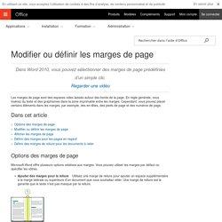Modifier ou définir les marges de page - Word