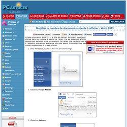 Modifier le nombre de documents récents à afficher - Word 2013