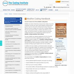 2016 Medical Coding and Billing Modifier Handbook with Guidelines