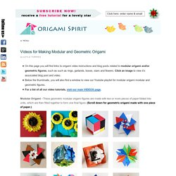 Modular Origami, Geometric Origami: Origami Instructions and Videos