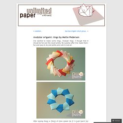 modular origami: rings by Mette Pederson «