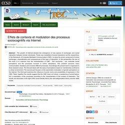 TEL - Thèses en ligne - Effets de contexte et modulation des processus sociocognitifs via Internet