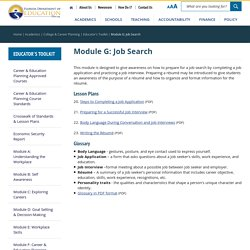 Module G: Job Search