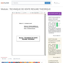 ⭐Module : TECHNIQUE DE VENTE RESUME THEORIQUE
