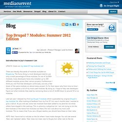 Top Drupal 7 Modules: Summer 2012 Edition