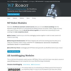 WP Robot Modules - WordPress Article, RSS and Amazon Autoblogging Plugin