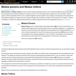 Modus ponens and Modus tollens