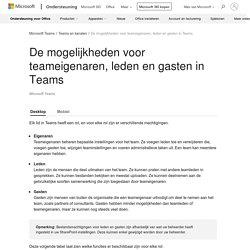 De mogelijkheden voor teameigenaren, leden en gasten in Teams - Office-ondersteuning