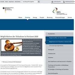 Möglichkeiten der Teilnahme in Horizont 2020 - Horizont 2020