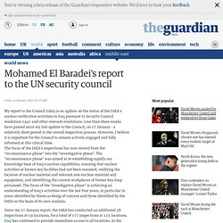 Full text: Mohamed El Baradei's report to the UN security council