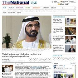 Sheikh Mohammed bin Rashid explains new ministerial posts in open letter