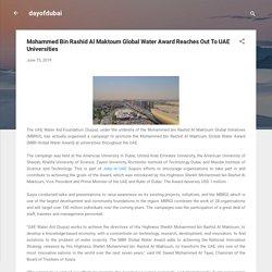 Mohammed Bin Rashid Al Maktoum Global Water Award Reaches Out To UAE Universities
